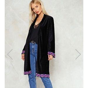 New Black Velvet Kimono Nasty Gal